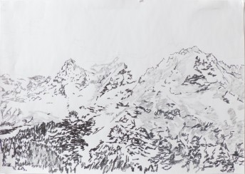 Alps #4, 2016 graphite on paper, 42 x 59 cm