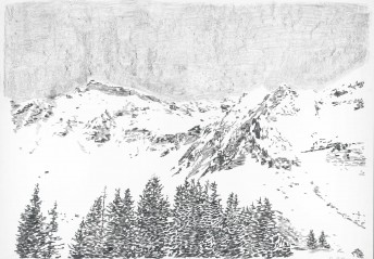 Alps#5, 2016 graphite on paper, 70 x 100 cm