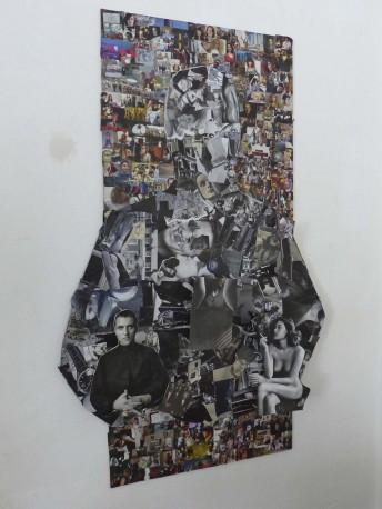 The Priest, May 2013, mixed media on wood, 1 m 16 cm highx 70 cm wide