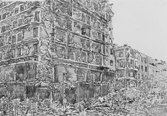 Rubble Series: Untitled, 2014 graphite on paper, 42 x 59.4 cm