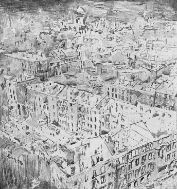 Wurzburg, 2014, graphite on paper 80 cm x 70 cm (destroyed)