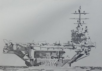 USS Nimitz, 2015 graphite on paper, 42 x 59.4 cm