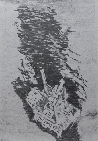 1969 Santa Barbara III, 2015 graphite on paper, 42 x 59.4