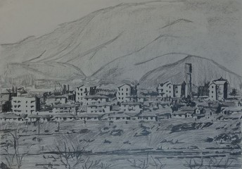Kijing Dong, North Korea, 2014, graphite on paper 42 x 59.4