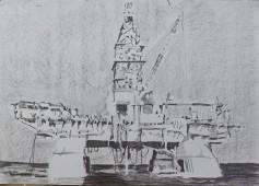Deepwater Horizon, 2015, graphite on paper 42 x 59.4 cm