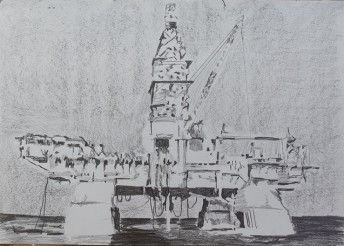 Deepwater Horizon, 2015, graphite on paper 42 x 59.4 cm