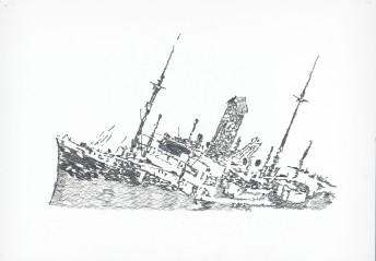 Frachtschiff Goslar, Suriname, 2015, graphite on paper , 70 cm x 100 cm