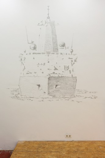 USS New York (LPD-21), 2015, graphite on wall, installed 200 cm x 140 cm
