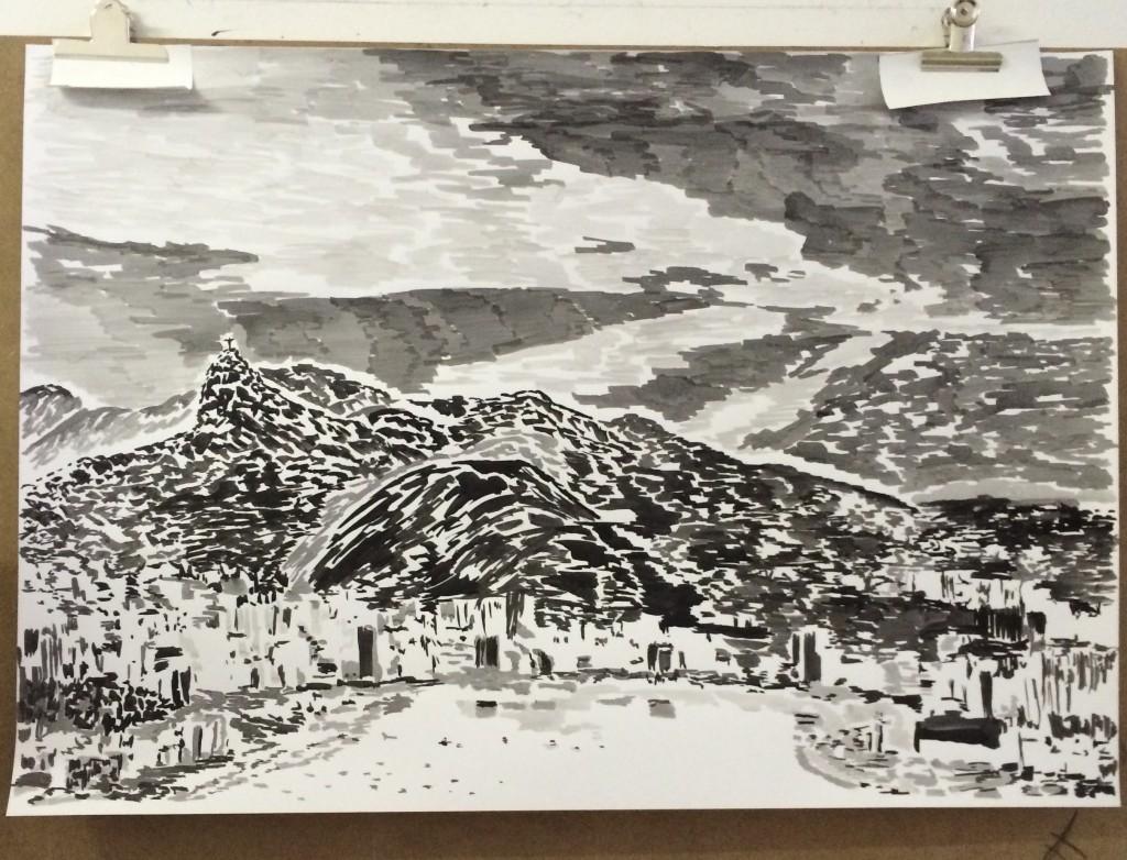 Rio de Janeiro, 2015 ink on paper, 70 cm x 100 cm