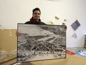 Leonardo with framed finished piece