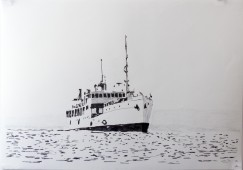 Boat Series: MV Liemba, 2015, graphite on paper, 100 cm x 70 cm