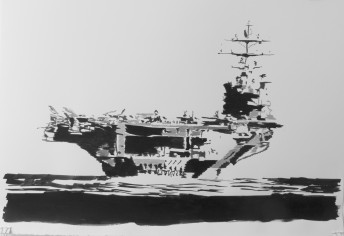 Boat Series: USS Nimitz, 2015, ink on paper, 100 cm x 70 cm