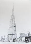 Burj Khalifa I, 2015, graphite on paper, 108 cm x 84 cm