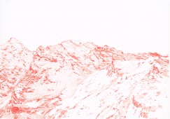 Alps #6 (red) 2016, colored pencil on paper 70 x 100 cm