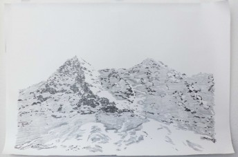 Alps #2, 2016 graphite on paper, 100 x 150 cm