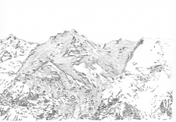 Alps #8, 2016, graphite on paper, 70 x 100 cm