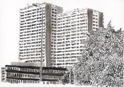 Plattenbau #4, 2017, ink on paper, 70 cm x 100 cm