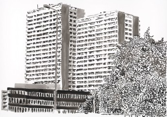 Plattenbau #4, 2017, ink on paper, 70 cm x 100 cm