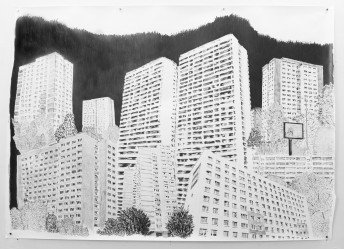 Platttenbau Romantik, 2017, graphite on paper, 153 cm x 206 cm