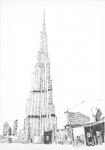 Burj Khalifa #2, 2015, graphite on paper, 100 x 70 cm