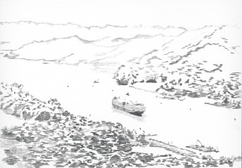 Panama Canal, 2015, graphite on paper, 70 x 100 cm