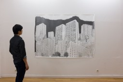 Platttenbau Romantik, (Installation View) 2017, graphite on paper, 153 cm x 206 cm