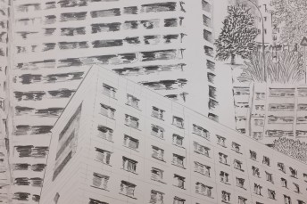Platttenbau Romantik (detail), 2017, graphite on paper, 153 cm x 206 cm
