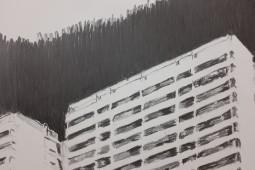 Platttenbau Romantik (detail), 2017, graphite on paper, 153 cm x 206 cm