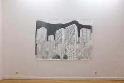 Platttenbau Romantik (Installation View), 2017, graphite on paper, 153 cm x 206 cm