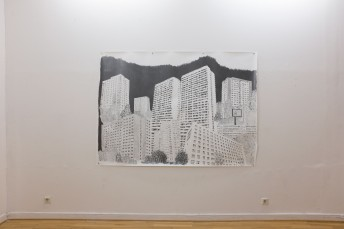 Platttenbau Romantik (Installation View), 2017, graphite on paper, 153 cm x 206 cm