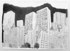 Platttenbau Romantik, 2017, graphite on paper, 153 cm x 206 cm