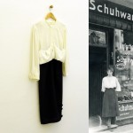 Birgit Szepanski, Mainzer-Str, 2016 dress, found photograph from 1913, from the archive of Museum Neukölln, Photo 13 x 10, Dress: 170 x 60 x 10