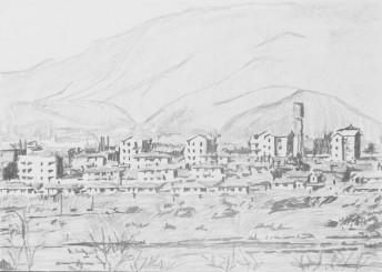 Kijongdong, North Korea, 2014, graphite on paper 42 x 59 cm