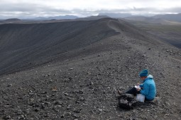 Sketching on the crater's rim
