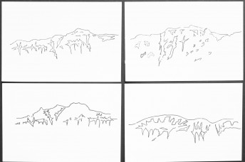 The shape of snow on a mountain numbers 9-12, 2017, ink on paper, 15 x 21 cm