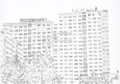 Plattenbau #3, 2016, graphite on paper, 70 cm x 100 cm