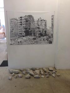 Rubble Series: Iraq, 2014, graphite on paper, concrete rubble