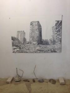 Rubble Series: Lebanon I, 2014, graphite on paper, concrete rubble