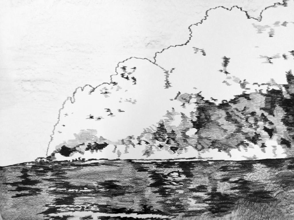 Oil Fire, Kuwait (detail) 2015, graphite on paper, 150 cm x 200 cm