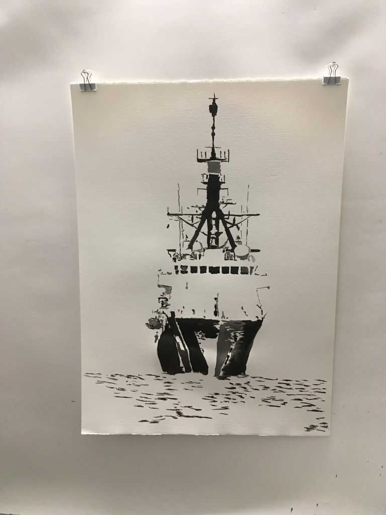 Commission: Coast Guard Cutter, 2016, 74 cm x 54 cm pen and ink, created for a naval architect