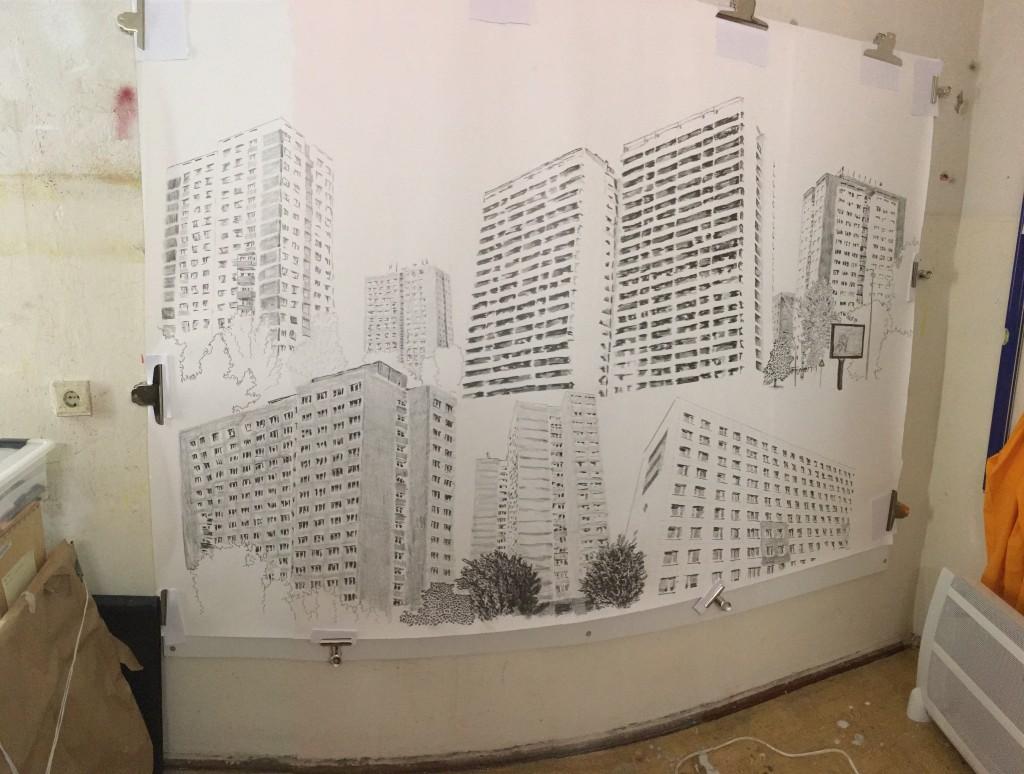 Untitled, in progress 150 cm x 200 cm, graphite on paper