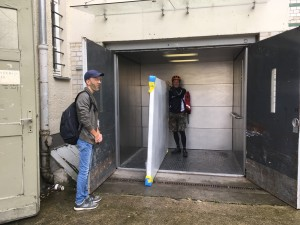 Oscar Martin Valdespino helping with de-install, grateful for freight elevators