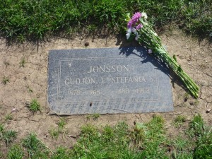 The grave of my great-grandparents, Inglewood, California. Photo courtesy of my cousin Tom Jonsson.
